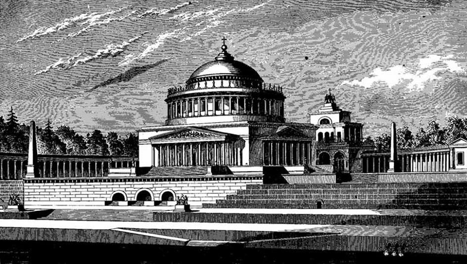 Александр Витберг. Рисунок «Проект храма Христа Спасителя в Москве», 1817