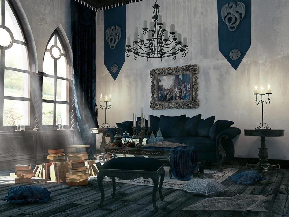 Готика. Интерьер в готическом стиле, гостиная с картиной и люстрой