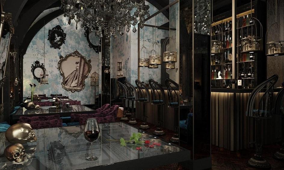 Готика. Интерьер в готическом стиле в дорогом европейском кафе