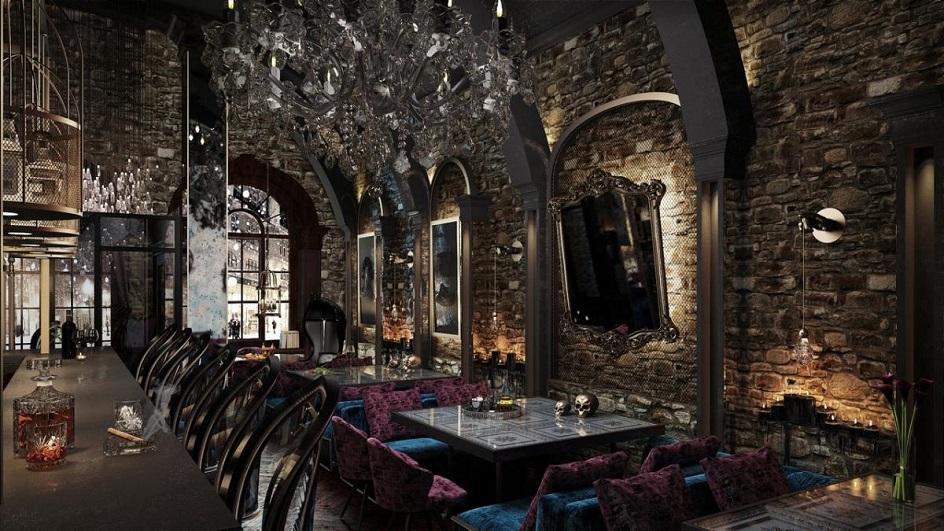 Готика. Интерьер в готическом стиле в зале ресторана