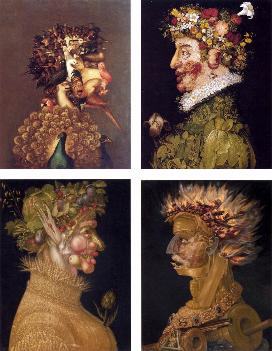 Джузеппе Арчимбольдо. Примеры работ из циклов «Времена года» и «Стихии», 1560-е