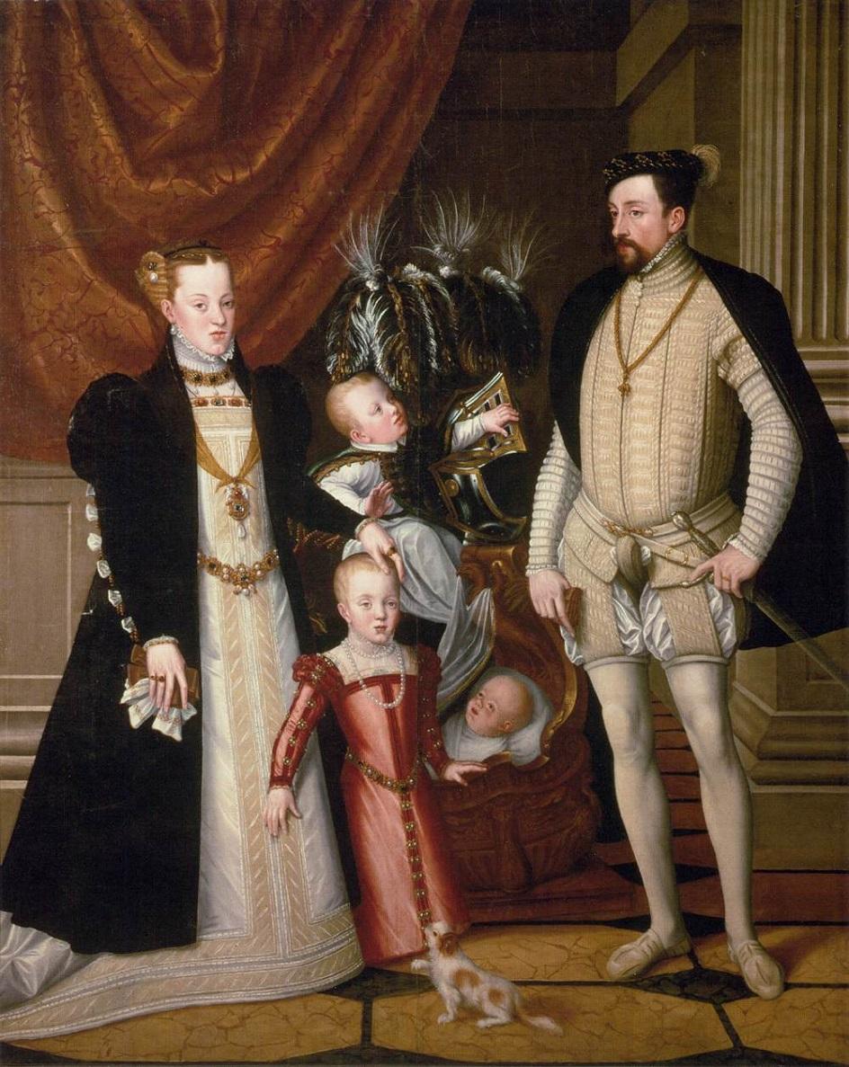 Джузеппе Арчимбольдо. Картина «Портрет императора Максимилиана II с семьёй», 1563