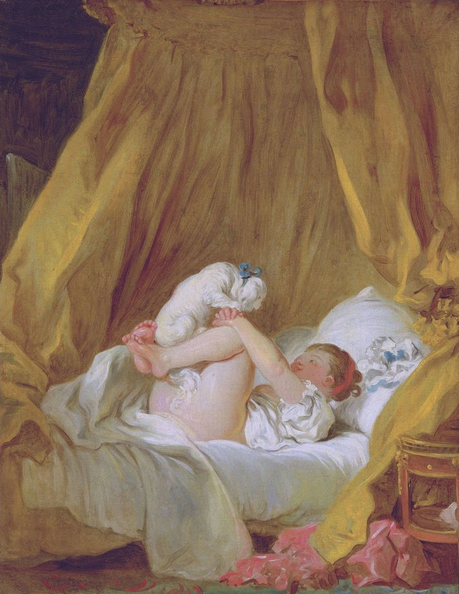 Жан-Оноре Фрагонар. Картина «Девочка в постели, играющая с собачкой», 1772