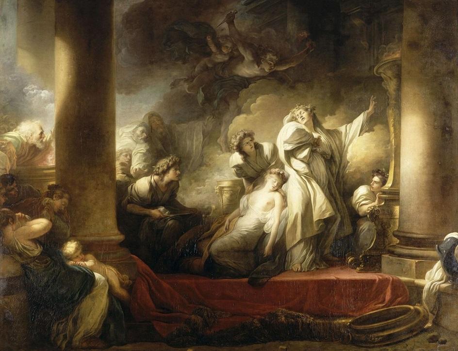 Жан-Оноре Фрагонар. Картина «Первосвященник Корез жертвует собой во имя спасения Каллирои», 1765