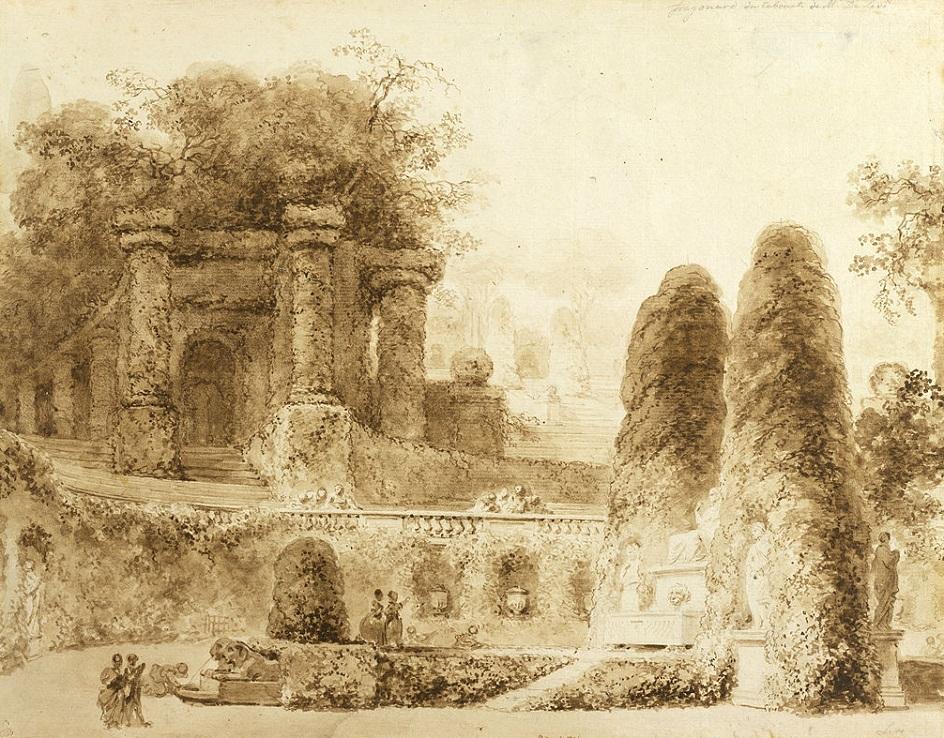 Жан-Оноре Фрагонар. Рисунок «Римский парк с фонтаном», 1774