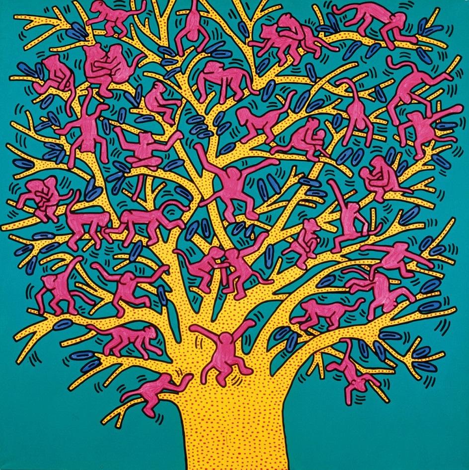 Кит Харинг. Картина «Дерево обезьян», 1984