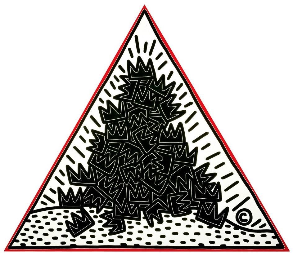 Кит Харинг. Картина «Куча корон для Жан-Мишеля Баскии», 1988