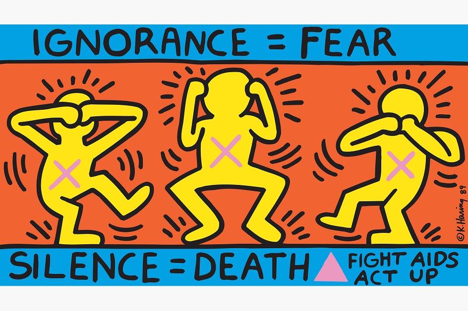Кит Харинг. Постер «Невежество = страх, молчание = смерть», 1989