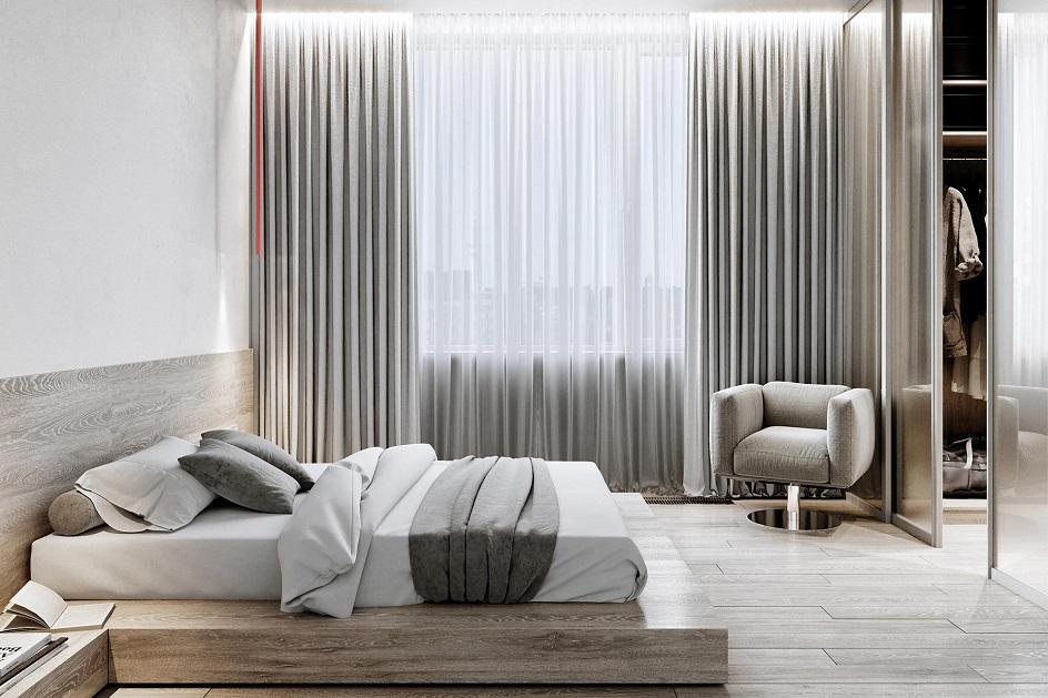 Минимализм. Спальня в серо-коричневых тонах в стиле минимализм