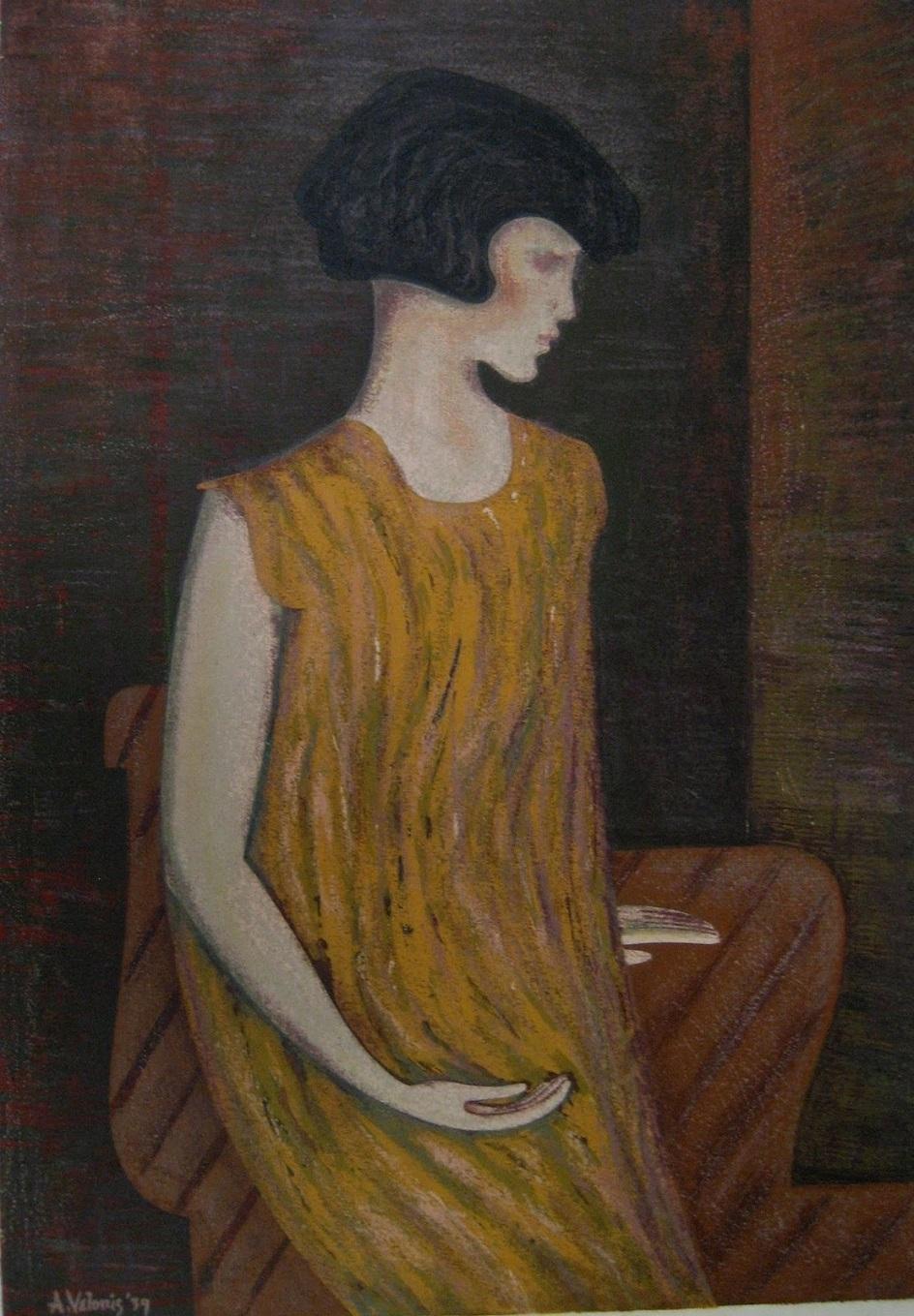 Энтони Велонис. Шелкография на бумаге Young Girl, 1939